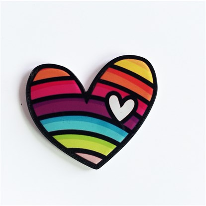 Acrylic Safety Brooches, with Iron Pin, Heart