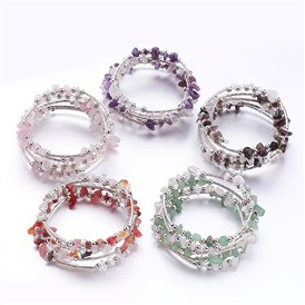 Five Loops Wrap Gemstone Beads Bracelets, with Crystal Chips Beads and Iron Spacer Beads
