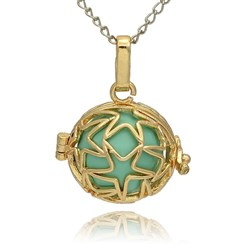 MediumTurquoise Golden Tone Brass Hollow Round Cage Mexican Ball Pendants, with No Hole Spray Painted Brass Ball Beads, MediumTurquoise, 23x24x18mm, Hole: 3x8mm