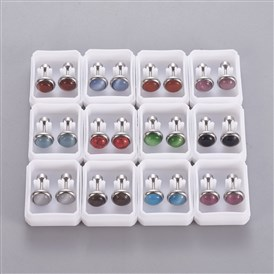 304 Stainless Steel Ear Fake Plugs, Ear Studs, with Synthetic Gemstone and Cat Eye, Half Round