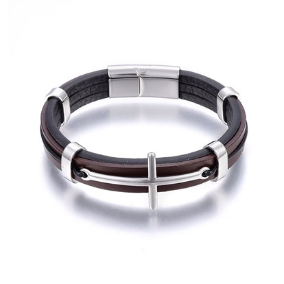 Leather Cord Bracelets, with 304 Stainless Steel Magnetic Clasp, Cross-1