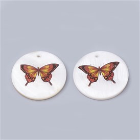 Freshwater Shell Pendants, Flat Round with Butterfly