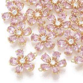 Brass Micro Pave Cubic Zirconia Pendants, Real 18K Gold Plated, Peach Blossom/Flower