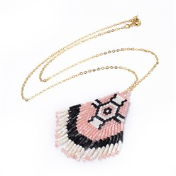 "Colorful Handmade Japanese Seed Beads Tassels Pendant Necklaces, with Brass Chain, Colorful, 18""(45.8cm)"