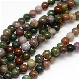 Natural Indian Agate Round Beads Strands