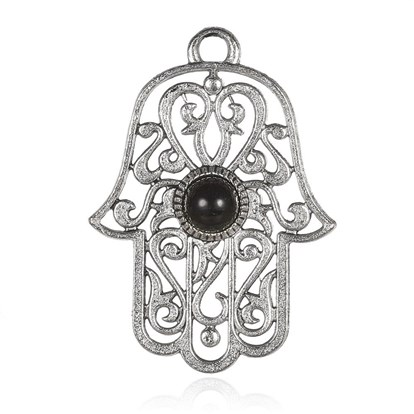 Alloy Pendant, with Resin Cabochons, Hamsa Hand/Hand of Fatima/Hand of Miriam, Antique Silver