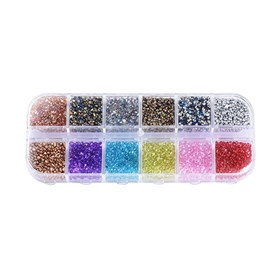 Glass Seed Beads, Baking Varnish & Dyed & Plated, For Nail Art Decoration Accessories, No Hole/Undrilled, Chip