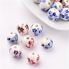 Handmade Porcelain Beads, Round, 12mm, hole: 3mm