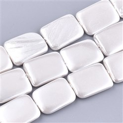 Seashell Shell Pearl Beads Strands, Rectangle, White, 20~21x15x2.5~4mm, Hole: 1mm; about 20pcs/strand, 16.1""