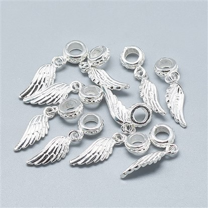 925 Sterling Silver European Dangle Beads, Large Hole Pendants, Wing-1