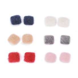 Faux Mink Fur Covered Cabochons, with Silver Tone Alloy Findings, Square