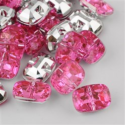 Pink Taiwan Acrylic Rhinestone Buttons, Faceted, 1-Hole, Rectangle, Pink, 30x21x10.5mm, Hole: 2mm