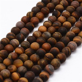 Frosted Natural Tiger Eye Beads Strands, Round