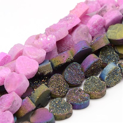 "Electroplate Natural Heart Druzy Quartz Crystal Beads Strands, 12x12x5.7mm, Hole: 1mm; about 17pcs/strand, 7.4""-1"