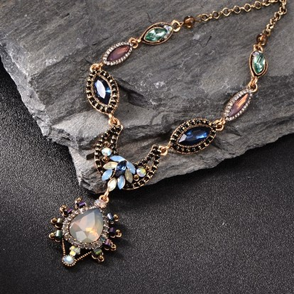 "Trendy Alloy Glass Rhinestone Bib Necklaces, with Iron Chains and Lobster Claw Clasps, 17.7""-1"