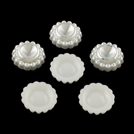 Flower Imitation Pearl ABS Plastic Rhinestone Settings, 16x5mm; about 500pcs/bag;  Fit for 7mm Rhinestone