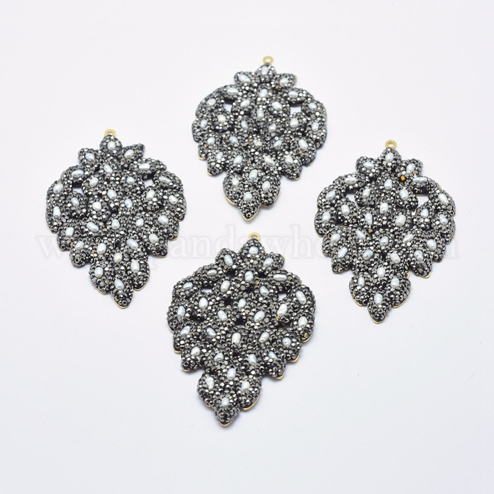 7e33b0ce5219 China Factory Handmade Brass Polymer Clay Rhinestone Pendants