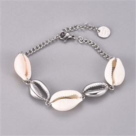 304 Stainless Steel Link Bracelets, with Cowrie Shell Beads and Lobster Claw Clasps