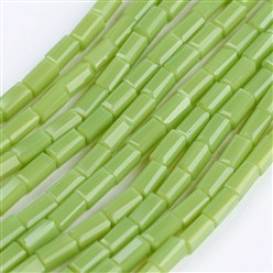 "SpringGreen Opaque Glass Beads Strands, Faceted, Cuboid, SpringGreen, 4~5x2~2.5x2~2.5mm, Hole: 0.5mm; about 100pcs/strand, 17.5~19""(44.5~48.5cm)"