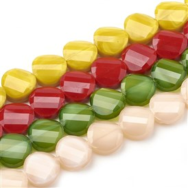 Opaque Solid Color Glass Beads Strands, Faceted, Flat Round, Twisted