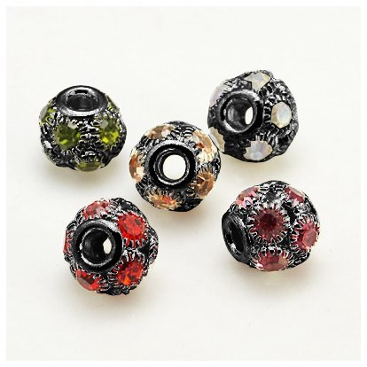 Brass Rhinestone European Beads, Grade A, Gunmetal Metal Color, Round, Hole: 4mm-1
