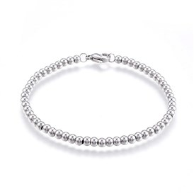 304 Stainless Steel Ball Chain Bracelets, with Lobster Clasps