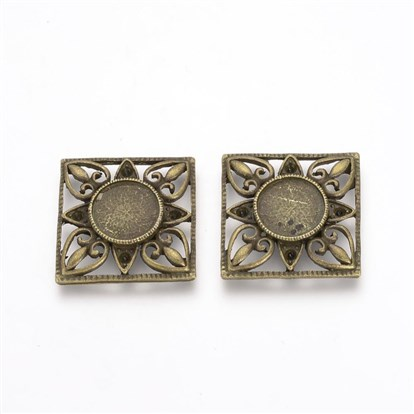 Tibetan Style Alloy Cabochon Settings, Square