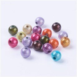 Mixed Color Spray Painted Miracle Acrylic Beads, Bead in Bead, Round, Mixed Color, 8mm, Hole: 1.8mm; about 1800pcs/500g