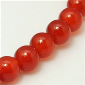 Natural Red Agate Bead Strands, Dyed, Grade A, Round