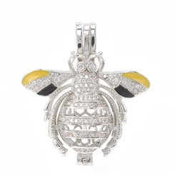 Platinum Alloy Enamel Diffuser Locket Pendants, with Micro Pave Cubic Zirconia, Cage Pendants, Bees, Clear, Platinum, 35x31x12mm, Hole: 3x6mm; Inner Measure: 20.5x10mm