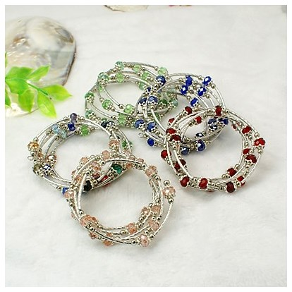 Fashion Wrap Bracelets, with Rondelle Glass Beads, Tibetan Style Bead Caps, Brass Tube Beads and Steel Memory Wire, Inner Diameter: 55mm