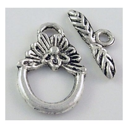 Tibetan Silver Toggle Clasps, Lead Free and Cadmium Free, Round/Flower, Toggle: 12mmx18mm, Tbars: 16mm long; hole: 2mm-1