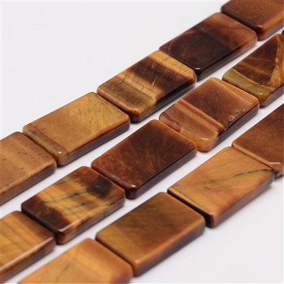 Natural Tiger Eye Bead Strands, Rectangle-1