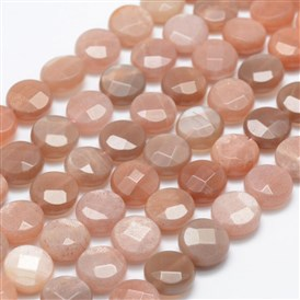 Natural Sunstone Beads Strands, Flat Round, Faceted