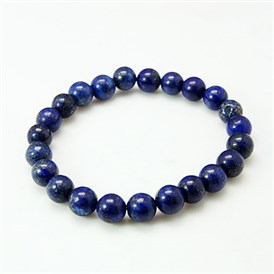 Valentine Day Gift for Husband Stretchy Gemstone Bracelets, with Lapis Lazulis and Elastic Cord, 51mm