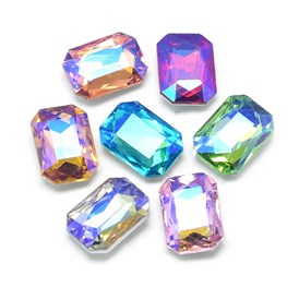 Pointed Back Glass Rhinestone Cabochons, Back Plated, Faceted, AB Color Plated, Rectangle Octagon