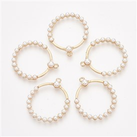 ABS Plastic Imitation Pearl Pendants, with Alloy Findings, Ring