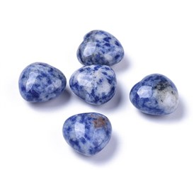 Natural Blue Spot Jasper Beads, No Hole/Undrilled, Heart