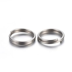 Stainless Steel Color 304 Stainless Steel Split Rings, Stainless Steel Color, 6x1mm; Inner Diameter: 5mm