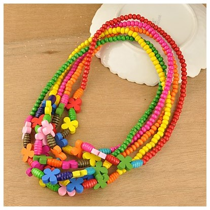 Colorful Wood Necklaces for Kids, Children's Day Gifts, Stretchy, 18 inches