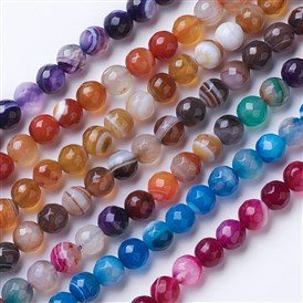 Natural Striped Agate/Banded Agate Beads Strands, Dyed & Heated, Faceted, Grade A, Round