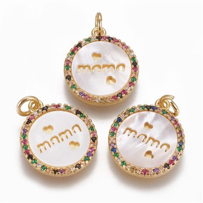 Brass Micro Pave Cubic Zirconia Charms, with Shell, For Mother's Day Jewelry Making, Flat Round with Word Mama, Colorful
