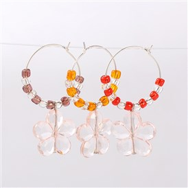 Transparent Acrylic Flower Wine Glass Charms, with Glass Seed Beads and Brass Hoop Earrings, Platinum, 46mm; Pin: 0.7mm