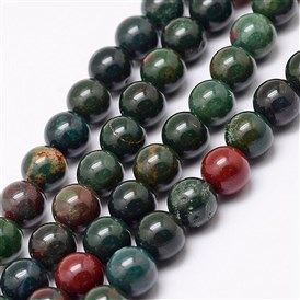 Natural Indian Bloodstone Bead Strands, Round