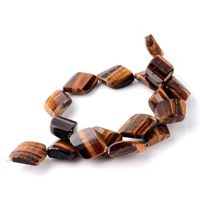 Natural Tiger Eye Bead Strands, Faceted, Rhombus-1