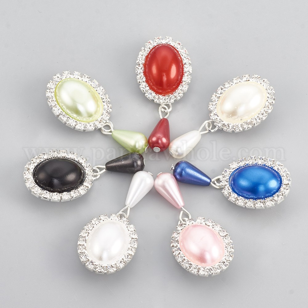 2a1034f9538 Brass Brooch, with Rhinestone and ABS Plastic Imitation Pearl, Oval,  Silver-1