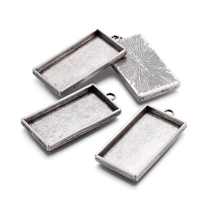 Alloy Pendant Cabochon Settings, Plain Edge Bezel Cups, Lead Free & Nickel Free & Cadmium Free, Rectangle