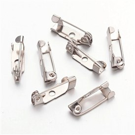 Iron Brooch Findings, Back Bar Pins, with one Hole, 15x6mm, Pin: 1mm, Hole: 3mm