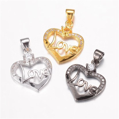 Brass Micro Pave Cubic Zirconia Pendants, Heart with Word Love-1