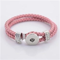 Pink Leather Cord Snap Bracelet Making, with Environmental Zinc Alloy Grade A Rhinestones Snap Leather Cord Clasps and Snaps, Platinum, Pink, 230x11mm; Fit Snap Buttons in 6mm Knob